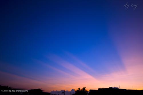 薄明光線の夕景