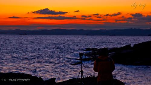 東京湾の日の出待ち
