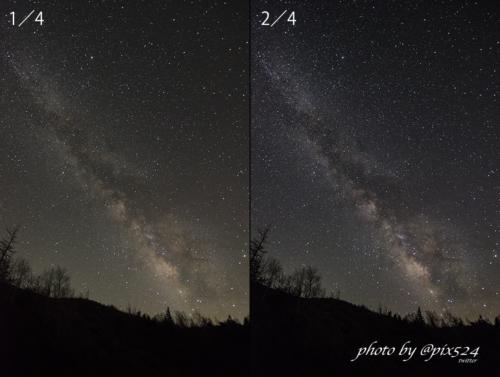 天の川の写真 現像方法の一例
