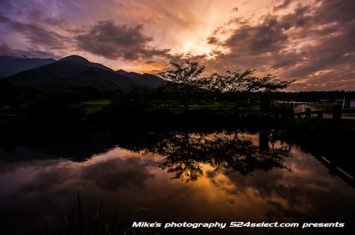 池に映る夕焼け