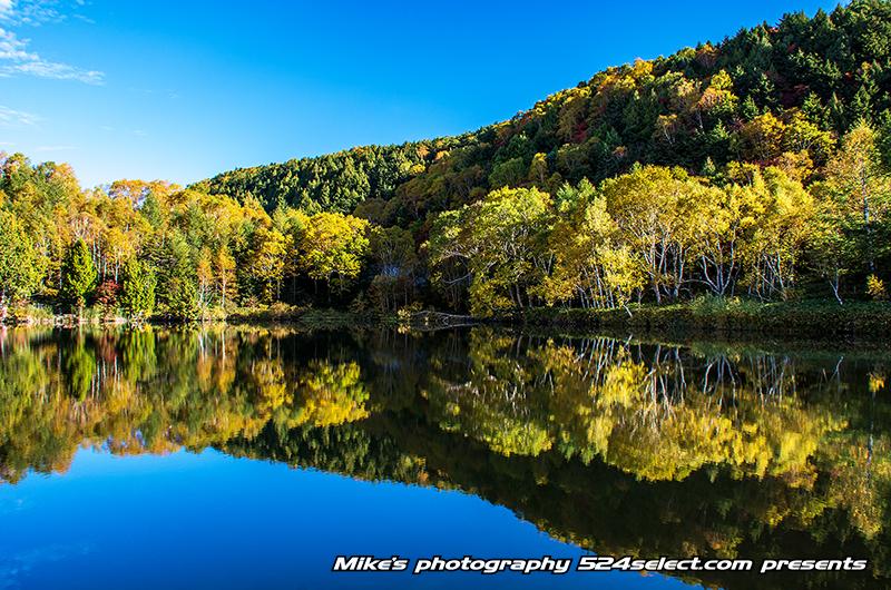 R292志賀高原木戸池の紅葉〜黄葉と青空のリフレクション!池への映り込みをPLフィルタで撮影