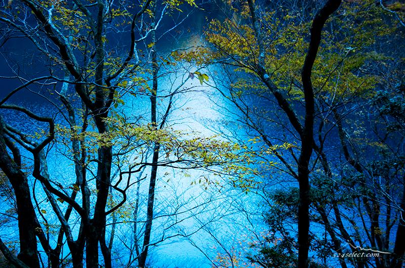 コバルトブルーの大間ダム湖[チンダル湖]天気で色が変化する湖!幻想的な寸又峡のダム湖
