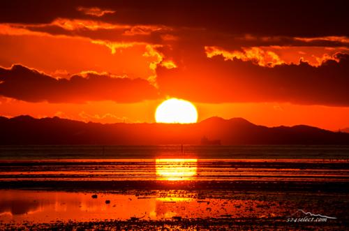 東京湾 夕焼け・夕日の美しい干潟のある木更津の浜辺