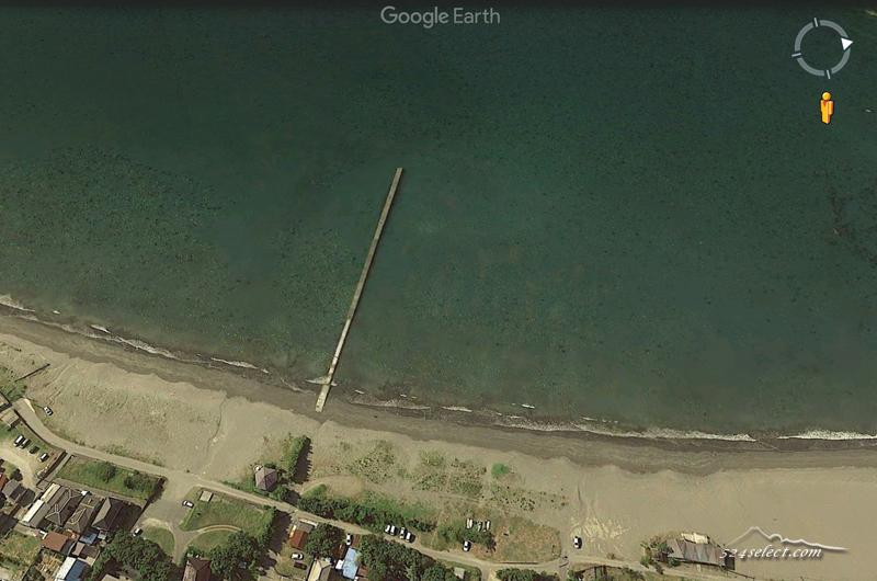原岡海岸〜東京湾の海から富士山へと続く雰囲気ある桟橋の夕景!裸電球が素敵な房総半島の海岸